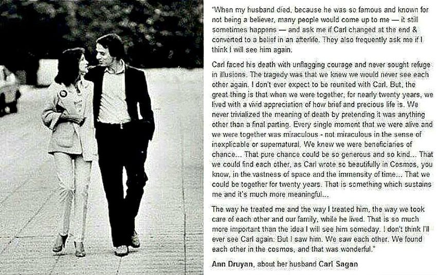 atheism �ann druyan about her husband carl sagan� must