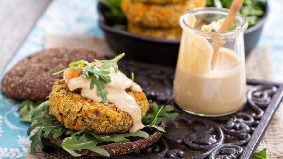 Treating yourself to vegan burgers with sweet potato and chickpeas isn't just a delicious indulgence; it could help save the planet. VeselovaElena/Thinkstock