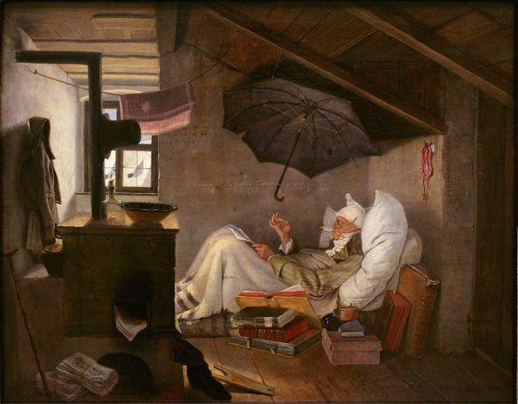 Painting : German Romanticism : %22The Poor Poet (Der arme Poet)%22 : Carl Spitzweg : 1839